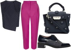EARTHA – STYLED OUTFIT | The Stylist's Stamp | Apple & Column | Female Body Shapes and What to Wear | Styled for Body Type | Styled Fashion | Pink Cropped Trousers, Tailored Pinstripe Top, Oxford Lace Ups & Navy Floral Appliqué Handbag by ZAC POSEN | Shopping | OOTD