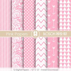 Digital Paper - Baby Girl - Pink Digital Paper Pack  - Pink Scrapbooking Paper - Scrapbook - Baby Girls - INSTANT DOWNLOAD - 1662