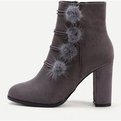 Side Pom Pom Heeled Boots ($42) ❤ liked on Polyvore featuring shoes, boots, ankle booties, grey, gray boots, high heel shoes, side zipper boots, heeled boots and grey shoes