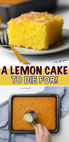 A Lemon Cake to Die for! Lemon Dessert Recipes, Cake Mix Recipes, Pound Cake Recipes, Lemon Recipes, Easy Desserts, Sweet Recipes, Baking Recipes, Delicious Desserts, Recipe For Lemon Cake