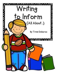 Writing to Inform (All About Books) allows the writer to share information on self-chosen topics. This unit is a great way to cover standard CCSS.ELA-LITERACY.W.2.2. #writingtoinform #allaboutbooks #CC.W.2.2