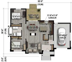 Plan image used when printing Split Level House Plans, Small House Plans, Architectural Design House Plans, Architecture Design, Architecture Classique, Living Room Floor Plans, Surface Habitable, Contemporary House Plans, Starter Home