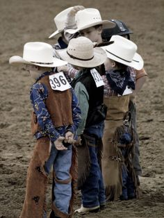 Little Montana cowboys! Adorable! I watched the wild pony races at the Calgary stampede and these little guys are brave and very tough! Hats off to the future generation of rodeo cowboys!