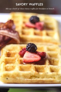 These savory cheesy waffles are a great way to make breakfasts and brunches special.