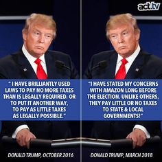 Doubletalk and outright lies.  Typical Trumpian posturing.  And for the record, Amazon collects state sales taxes where required from its customers which are then paid to state governments.