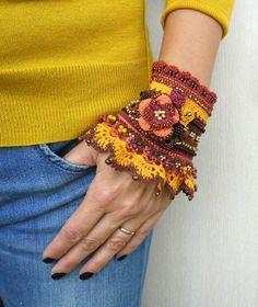 Items similar to Bracelet Cuff Crochet Bracelet Crochet Cuff Green Rose Gray pastel with seed beads - ROMANTIQUE on Etsy Crochet Beaded Bracelets, Beaded Cuff Bracelet, Cuff Bracelets, Crochet Necklace, Freeform Crochet, Bead Crochet, Crochet Lace, Unique Crochet, Crochet Gloves