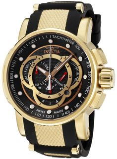 Invicta Men's 0896 S1 Chronograph Black Dial Black Polyurethane Watch