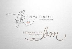 Custom handwritten logo / signature design / heart initials logo - hand drawn…