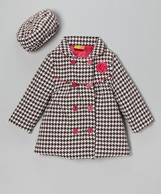 Take a look at this Brown & Pink Houndstooth Coat & Hat - Infant, Toddler & Girls on zulily today! Little Girl Outfits, Cute Outfits For Kids, Little Girl Fashion, Fashion Kids, Super Moda, Houndstooth Coat, Cute Baby Clothes, Girl With Hat, My Baby Girl