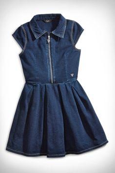 Big Girl Knit Denim Dress (7-16)   GUESS.com. Love the collar! Sums it all up!