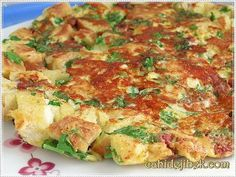 Bayat Ekmek Omleti Certainly, there is proof from your Lord. Egg Recipes, Lunch Recipes, Appetizer Recipes, Breakfast Recipes, Cooking Recipes, Healthy Recipes, Pizza Recipes, Bread Recipes, Turkish Breakfast