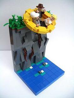 "Lego vignette ""Temple of Doom"" by Rod Gillies Lego Minifigure Display, Lego Math, Lego Indiana Jones, Micro Lego, All Lego, Lego Worlds, Cool Lego Creations, Lego Design, Lego Models"