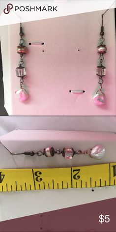 Handmade pearl and crystal earrings These are handmade one of a kind earrings. They have real pearls and crystal. Color is blush pinks and white. Beads by Brenda Jewelry Earrings