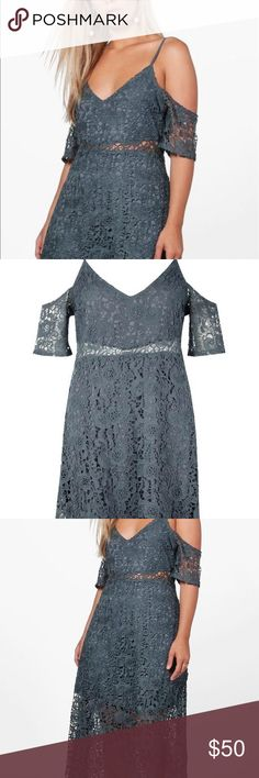 Dark Gray Lace Dress Lace Dress in a Smoke Color....never worn...US size 18...🚫🚫NO TRADES OR PAYPAL🚫🚫 Boohoo Plus Dresses