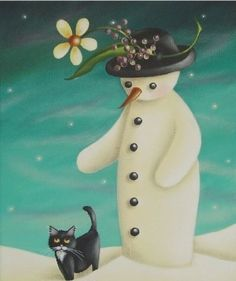 Cat and snowman friend