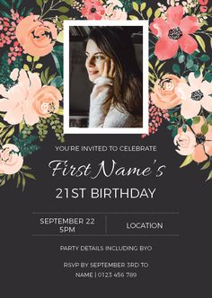 Birthday Invitation customised to suit any milestone. 21st Birthday Invitations, Flower Invitation, Youre Invited, Rsvp, Food Ideas, Suit, Party, Flowers, Projects