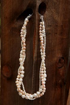 Pale Pink Pearl Necklace, Twisted Three strand Necklace on Etsy, $40.00