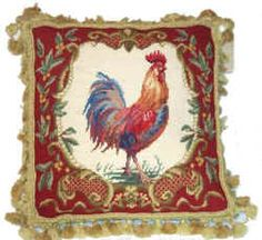 french country chickens roosters | French Country and ToileRooster Needlepoint Pillows, Rugs and ...