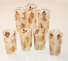 Featured on the Mad Men series, my parents had a set of these same MId-Century Highball Glasses - Libby Gold Leaf Frosted Glass Set of 7.  Wish I had them now!