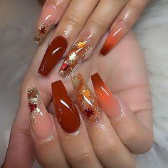Perfect Nails, Gorgeous Nails, Pretty Nails, Fall Acrylic Nails, Acrylic Nail Designs, Burgundy Acrylic Nails, Burgundy Nail Designs, Orange Nail Designs, Halloween Acrylic Nails