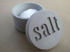 small concrete salt cellar jar with etched salt lid - Kreteware...