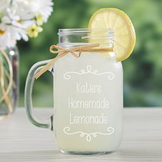 This Personalized Glass Mason Jar is so cute! You can have it engraved to say anything you'd like! Great for summer parties!