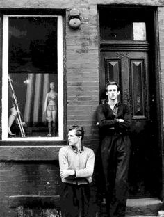 Quay Brothers in front of a prosthesis shop /// Philadelphia (1973)