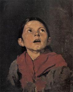 .:. Γύζης Νικόλαος – Gyzis Nikolaos [1842-1901] Κεφάλι κοριτσιού Name Paintings, Portrait Paintings, Portraits, Greek Art, Believe In God, Chiaroscuro, The Kingdom Of God, Kids Playing, Mona Lisa