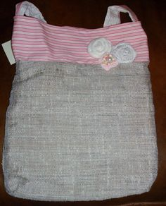 Pink Spring tote bag handmade Purse - fabric flower and burlap embellished Great Easter gift. $19.00, via Etsy.