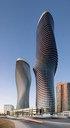 Twin towers. Mississauga skyline. Twisted. Marilyn Monroe. Hourglass. Canada. Skyscraper of the Year.