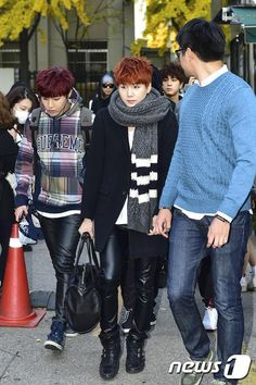 BTS On the way to KBS for Music Bank 141107