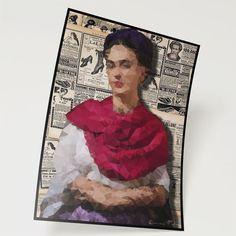 """Poster: """"Frida Kahlo...low poly""""  #regalo #impresión #poster #original #mexico #artemexico #interior #cuadro #decoración #zakaiimxicocuadrospostersartesdecorativos"""