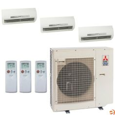 MXZ-3B30NA-1 + (3)MSZ-FE09NA-8 Tri Zone Wall Mounted Heat Pump Mini S by Mitsubishi. $3739.95. Mitsubishi MXZ-3B30NA-1 + (3)MSZ-FE09NA-8 Tri Zone Wall Mounted Heat Pump Mini Split System - 27,000 BTU Mitsubishi's Mini-Split systems are some of the highest quality split style air conditioners on the market. Well renowned for incredible efficiency and reliability, the new Mr. Slim line of Mitsubishi Mini Splits represents the pinnacle of modern Mini-Split technology. T...