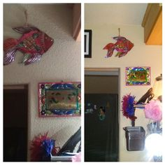 Rehung the fish and put up the frame. #HammeredTin #Mexico