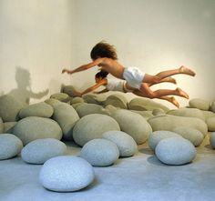 Giant rock pillows for the kids playroom-would be awesome for a reading nook! Livingstone, Pebble Floor, Pebble Stone, Faux Stone, Pouf Design, Pillow Design, Die Dinos Baby, Deco Zen, Funny Pillows