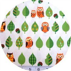 $5.95 Cosmo Textiles, Mod Owls White