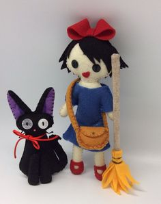 Dimensions  Kiki: 8 tall 3 head wide  Jiji cat: 5 tall 3 wide     Completely handmade (cut and stitched) this adorable Set of Kiki and Jiji