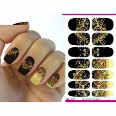 2016 Nail Foil Sticker Black Dream Peacock Feathers Nail Wraps Sticker Elegant 3D Manicure Decor Tools Decals ZJT004