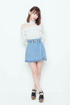 Sakura Sakura Miyawaki, Denim Skirt, Cute Girls, High Waisted Skirt, Photoshoot, Akb48, Outfits, Cherry Blossom, Squad
