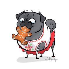 Printables coming soon! Pug Cartoon, Cute Cartoon Animals, Cute Baby Animals, Animals Dog, Pug Quotes, Pug Breed, Pug Illustration, Cute Pugs, Funny Pugs