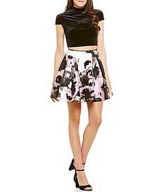 1b497768e29 Jodi Kristopher Mock Neck Velvet Top Floral Skirt Two-Piece Skater Dress