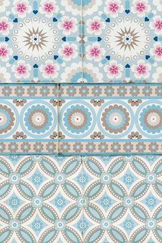 Pip Studio the Official website - Bright Pip Tiles wallpower blue Textile Patterns, Print Patterns, Textiles, Tile Design, Pattern Design, Tile Wallpaper, Pip Studio, Blog Deco, Diy For Girls