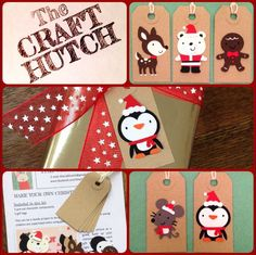 Make Your Own Christmas Gift Tag kits by TheCraftHutch on Etsy Christmas Gift Tags, Christmas Crafts For Kids, Fall Crafts, Christmas Ornaments, Fall Craft Fairs, Craft Club, Make Your Own, How To Make, Gift Wrapping