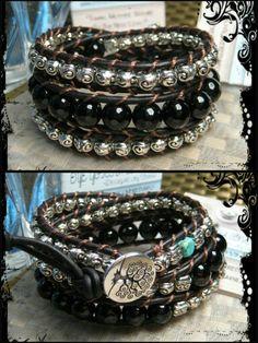 "Custom Black Leather Triple Wrap ""Gemstones"" Bracelet with Onyx and Silvertone Beads  www.eyegotchacovered.info  #TreeOfLife #Gemstones #EGCdesign #SupportYourLocalArtists"