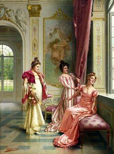 """""""La Aventura de las coquetas""""""""por Vittorio Reggianini (1858-1938)."""