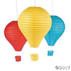 Hot air balloon paper lanterns from Oriental Trading Balloon Lanterns, Hanging Paper Lanterns, Patio Lanterns, Sky Lanterns, Blue Balloons, Colourful Balloons, Helium Balloons, Hot Air Balloon Paper, Lantern Set