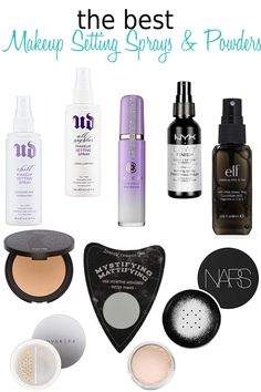10 Best Makeup Setting Sprays and Powders. There are sprays to meld your makeup together without making it streaky sprays to hold your makeup in place all day no matter the weather and sprays for dry or oily skin! Powders to blur skin imperfections too! Makeup Elf, Dewy Makeup, Make Makeup, Makeup Dupes, Makeup Brushes, Beauty Makeup, Oily Skin Makeup, Elf Dupes, Eyeshadow Dupes