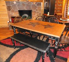Star Topped Table with 4 Chairs & a Bench - lightly distressed black paint