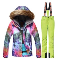 GSOU SNOW Brand Ski Suit Women Ski Jacket Pants Waterproof Mountain Skiing  Suit Snowboard Sets Winter 6dcd6f652
