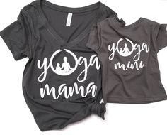 YOGA mommy and me matching shirt SET dark charcoal grey Yoga Mama tank and Yoga Mini Baby Toddler tee